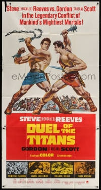 4w067 DUEL OF THE TITANS 3sh 1963 Romolo e Remo, Steve Hercules Reeves vs Gordon Tarzan Scott!