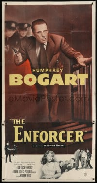 4w069 ENFORCER 3sh 1951 Humphrey Bogart c/u with gun in hand, if you're dumb you'll be dead, rare!