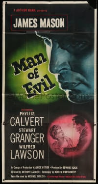 4w070 FANNY BY GASLIGHT 3sh 1948 close up art of James Mason, the Man of Evil + Calvert & Granger!