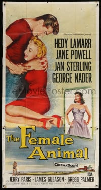 4w072 FEMALE ANIMAL 3sh 1958 art of Hedy Lamarr + Jane Powell & George Nader embracing!