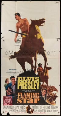 4w074 FLAMING STAR 3sh 1960 Elvis Presley on horseback with rifle, Barbara Eden, Don Siegel!