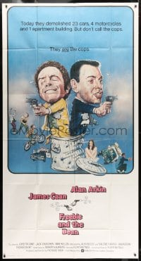 4w076 FREEBIE & THE BEAN int'l 3sh 1974 James Caan, Alan Arkin, wacky screwball cop artwork!