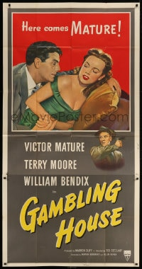 4w078 GAMBLING HOUSE 3sh 1951 art of Victor Mature lusting after sexy Terry Moore, William Bendix!