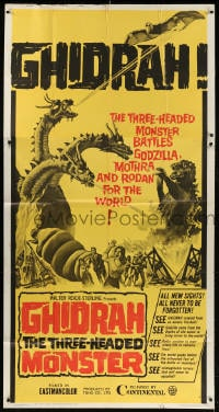 4w079 GHIDRAH THE THREE HEADED MONSTER 3sh 1965 Toho, he battles Godzilla, Mothra, and Rodan!