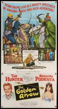 4w080 GOLDEN ARROW 3sh 1963 Tab Hunter, sexy Rossana Podesta, amazing magic & high adventure!
