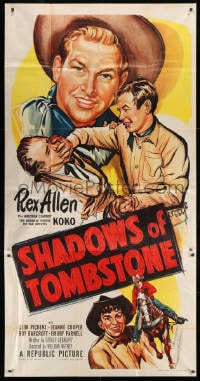 4w204 SHADOWS OF TOMBSTONE 3sh 1953 cool art of Arizona cowboy Rex Allen beating up bad guy!