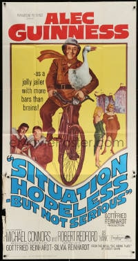 4w208 SITUATION HOPELESS-BUT NOT SERIOUS 3sh 1965 wacky art of Alec Guinness on bike with goose!