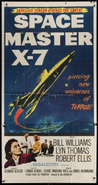 4w214 SPACE MASTER X-7 3sh 1958 satellite terror strikes the Earth, cool art of rocket ship!