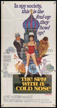 4w217 SPY WITH A COLD NOSE int'l 3sh 1967 art of spy Laurence Harvey & sexy Daliah Lavi!