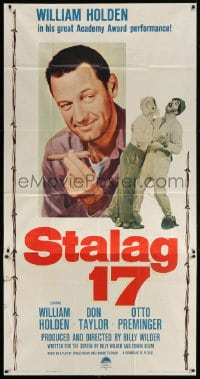 4w220 STALAG 17 3sh R1959 different huge c/u of William Holden, Billy Wilder WWII POW classic!