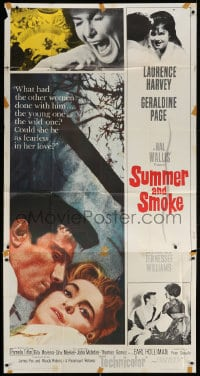 4w226 SUMMER & SMOKE 3sh 1961 close up of Laurence Harvey & Geraldine Page, by Tennessee Williams!