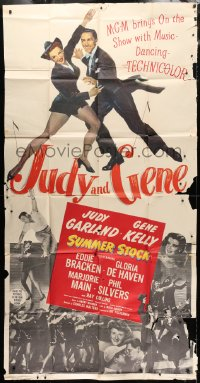 4w227 SUMMER STOCK 3sh 1950 full-length image of Judy Garland & Gene Kelly dancing together!