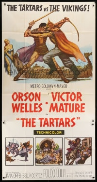 4w230 TARTARS 3sh 1961 great artwork of armored Victor Mature battling Orson Welles!
