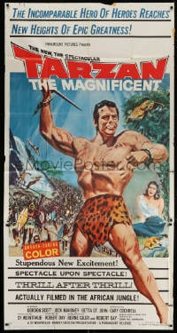 4w232 TARZAN THE MAGNIFICENT 3sh 1960 art of barechested Gordon Scott, the greatest of them all!