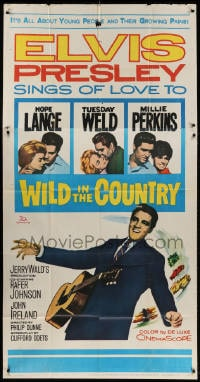 4w269 WILD IN THE COUNTRY 3sh 1961 Elvis Presley sings of love to Tuesday Weld, rock & roll musical