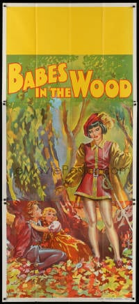 4w001 BABES IN THE WOOD stage play English 3sh 1930s stone litho of female hero finding lost kids!