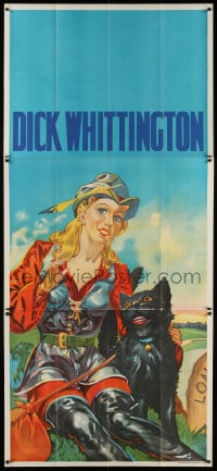 4w003 DICK WHITTINGTON stage play English 3sh 1930s cool art of sexy female lead & smiling cat!