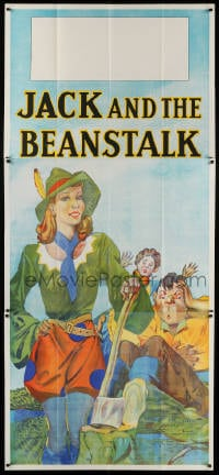 4w004 JACK & THE BEANSTALK stage play English 3sh 1930s stone litho art of female Jack & axe!