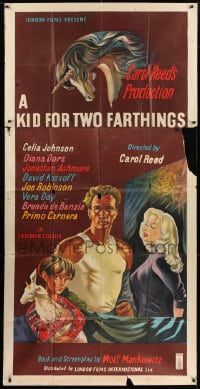4w013 KID FOR TWO FARTHINGS English 3sh 1955 Stobbs art of sexy Diana Dors, directed by Carol Reed!