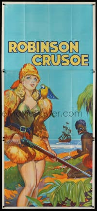 4w007 ROBINSON CRUSOE stage play English 3sh 1930s sexy close up of female hero by Friday & ship!