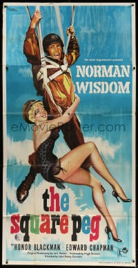 4w014 SQUARE PEG English 3sh 1958 Nistri art of sexy woman holding onto paratrooper Norman Wisdom!