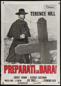 4w410 DJANGO PREPARE A COFFIN Italian 1p 1968 cool c/u of Terence Hill as Django with gun by grave!