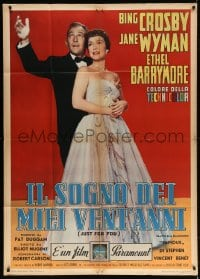 4w517 JUST FOR YOU Italian 1p 1953 full-length portrait of Bing Crosby & sexy Jane Wyman, rare!