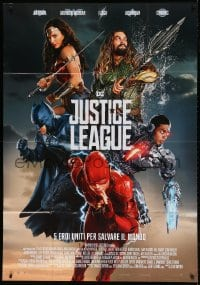 4w518 JUSTICE LEAGUE Italian 1p 2017 different art of Gadot as Wonder Woman, Momoa, top cast!