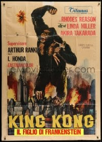 4w523 KING KONG ESCAPES Italian 1p 1968 cool different Franco art of the giant ape crushing city!