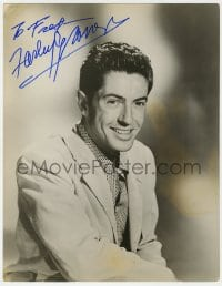 4x052 FARLEY GRANGER signed deluxe 10.25x13 still 1940s great smiling seated portrait of the star!