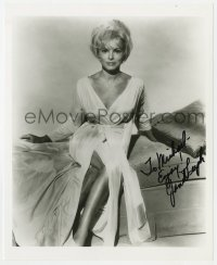 4x812 JANET LEIGH signed 8x10 REPRO still 1970s sitting on bed in silk robe that barely covers her!