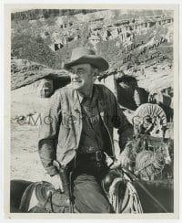 4x821 JOHN MCINTIRE signed 8x10 REPRO still 1964 great cowboy portrait on horse from Wagonmaster!