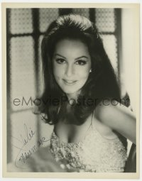 4x823 JULIE NEWMAR signed 8x10.25 REPRO 1970s super sexy close portrait in low-cut top!