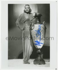 4x840 MARLENE DIETRICH signed 8x9.75 REPRO still 1980s full-length in glamorous dress by big urn!