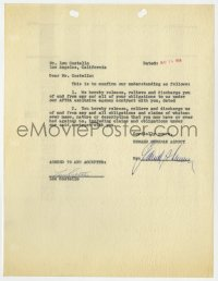 4x081 LOU COSTELLO signed contract 1956 ending his contract with the Edward Sherman talent agency!