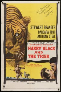 4x060 HARRY BLACK & THE TIGER signed 1sh 1958 by Stewart Granger, cool close up art of tiger!