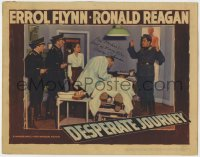 4x032 DESPERATE JOURNEY signed LC 1942 by Nancy Coleman, who's w/ Nazis & Flynn by operating table!