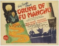 4x033 DRUMS OF FU MANCHU signed TC 1943 by Henry Brandon, who plays the Asian villain!