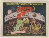 4x037 FIRST MEN IN THE MOON signed TC 1964 by Ray Harryhausen, H.G. Wells, fantastic sci-fi art!