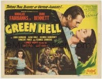 4x038 GREEN HELL signed TC R1947 by Douglas Fairbanks Jr., in Africa with beautiful Joan Bennett!