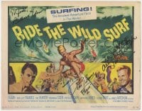 4x044 RIDE THE WILD SURF signed TC 1964 by Tab Hunter, Barbara Eden, AND Peter Brown, cool art!