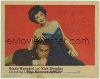 4x047 TOP SECRET AFFAIR signed LC #1 1957 by Kirk Douglas, who's with sexy Susan Hayward!