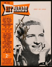 4x072 JERRY LEE LEWIS signed English magazine June 1958 he's on the cover of Hit Parade!