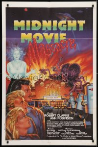 4x062 MIDNIGHT MOVIE MASSACRE signed 1sh 1988 by Ann Robinson, sci-fi monster art by Joel Andrews!