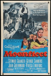 4x063 MOONFLEET signed 1sh 1955 by Stewart Granger, directed by Fritz Lang, great montage!