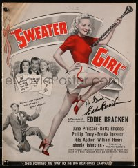 4x012 EDDIE BRACKEN signed pressbook 1942 when he was in Sweater Girl with June Preisser!