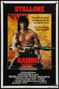4x064 RAMBO FIRST BLOOD PART II signed 1sh 1985 by Sylvester Stallone, c/u with rocket launcher!