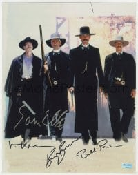 4x079 TOMBSTONE signed 11x14 REPRO photo 2000s by Sam Elliot, Val Kilmer, Kurt Russell AND Paxton!
