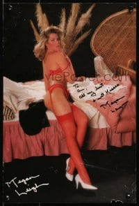 4x026 MEGAN LEIGH signed 12x17 special poster 1980s full-length portrait in sexy red lingerie!