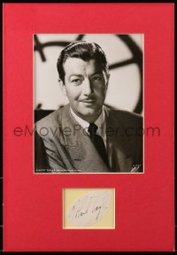 4x008 ROBERT TAYLOR signed 2x3 cut album page in 11x16 display 1940s ready to hang on your wall!